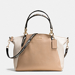 KELSEY SATCHEL IN EXOTIC EMBOSSED LEATHER TRIM - f38441 - IMITATION GOLD/BEECHWOOD MULTI
