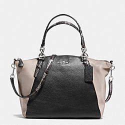 KELSEY SATCHEL IN EXOTIC EMBOSSED LEATHER TRIM - f38441 - SILVER/BLACK MULTI