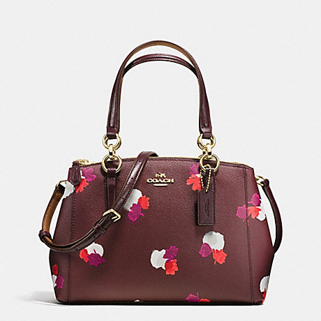 COACH f38442 MINI CHRISTIE CARRYALL IN FIELD FLORA PRINT COATED CANVAS IMITATION GOLD/BURGUNDY MULTI