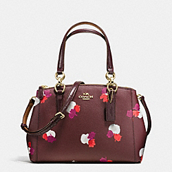 COACH MINI CHRISTIE CARRYALL IN FIELD FLORA PRINT COATED CANVAS - IMITATION GOLD/BURGUNDY MULTI - F38442