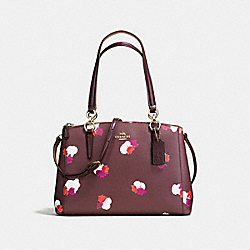 COACH SMALL CHRISTIE CARRYALL IN FIELD FLORA PRINT COATED CANVAS - IMITATION GOLD/BURGUNDY MULTI - F38443