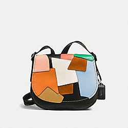 SADDLE BAG 23 IN PATCHWORK LEATHER - f38482 - DARK GUNMETAL/BLACK MULTI