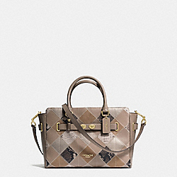 BLAKE CARRYALL IN PATCHWORK SUEDE AND EXOTIC EMBOSSED LEATHER - f38501 - IMITATION GOLD/STONE MULTI