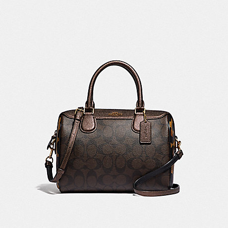 COACH MINI BENNETT SATCHEL IN SIGNATURE CANVAS WITH LEOPARD PRINT - BROWN MULTI/LIGHT GOLD - F38538
