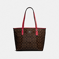 CITY ZIP TOTE IN SIGNATURE CANVAS - BROWN/RED/SILVER - COACH F38555