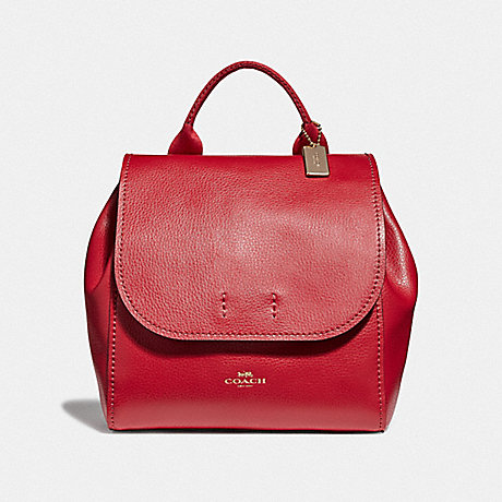 COACH LARGE DERBY BACKPACK - TRUE RED/LIGHT GOLD - F38556