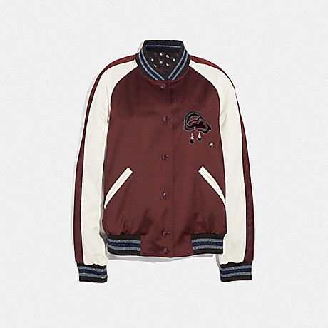 COACH REVERSIBLE CLOUD SOUVENIR JACKET - BURGUNDY/MULTI - F38564
