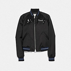 CITY SKY CROPPED BASEBALL JACKET - BLACK - COACH F38600