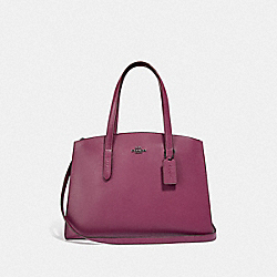 CHARLIE CARRYALL WITH METALLIC INTERIOR - DARK BERRY/GUNMETAL - COACH F38616