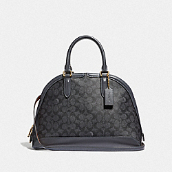 QUINN SATCHEL IN SIGNATURE CANVAS - CHARCOAL/MIDNIGHT NAVY/GOLD - COACH F38626