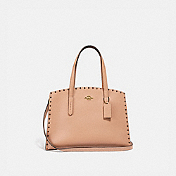 CHARLIE CARRYALL WITH CRYSTAL RIVETS - NUDE PINK/BRASS - COACH F38629