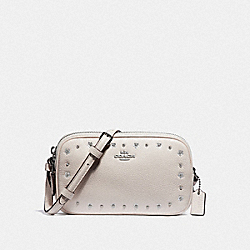 CROSSBODY POUCH WITH FLORAL RIVETS - CHALK/SILVER - COACH F38637