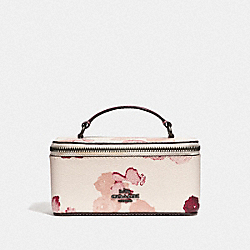 VANITY CASE WITH HALFTONE FLORAL PRINT - CHALK/RED/BLACK ANTIQUE NICKEL - COACH F38638