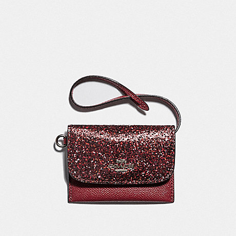 COACH CARD POUCH - RED/SILVER - F38671