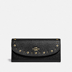 SLIM ENVELOPE WALLET WITH FLORAL RIVETS - BLACK/LIGHT GOLD - COACH F38675