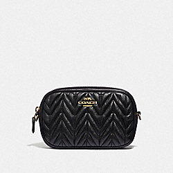 CONVERTIBLE BELT BAG WITH QUILTING - BLACK/GOLD - COACH F38678