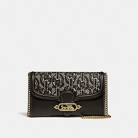 COACH CHAIN CROSSBODY WITH CHAIN PRINT - BLACK/LIGHT GOLD - F38685