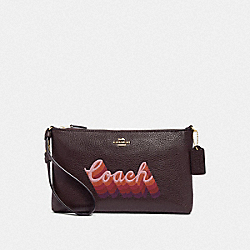 LARGE WRISTLET 25 WITH NEON COACH SCRIPT - OXBLOOD MULTI/LIGHT GOLD - COACH F38686
