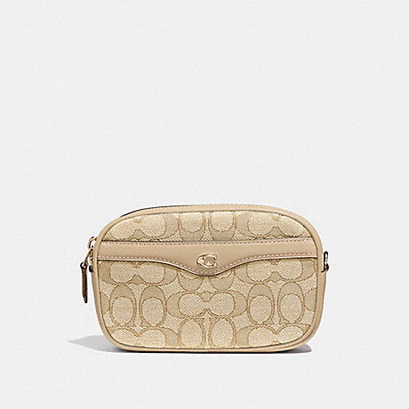 COACH IVIE CONVERTIBLE BELT BAG IN SIGNATURE JACQUARD - LIGHT KHAKI/BEECHWOOD/LIGHT GOLD - F38687
