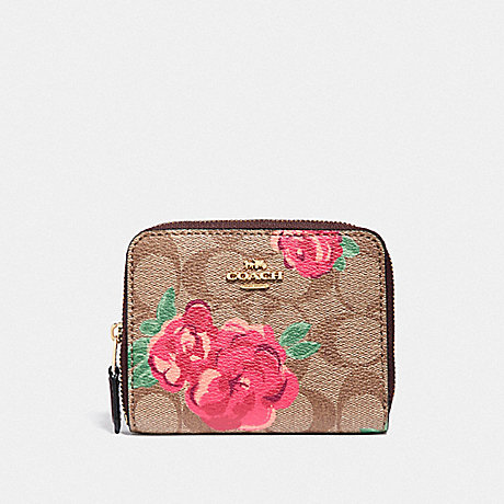 COACH SMALL ZIP AROUND WALLET IN SIGNATURE CANVAS WITH JUMBO FLORAL PRINT - KHAKI/OXBLOOD MULTI/LIGHT GOLD - F38704