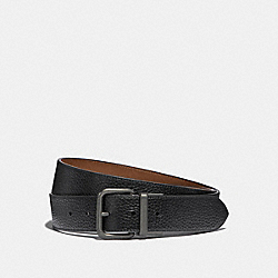DAPPED COACH ROLLER CUT-TO-SIZE REVERSIBLE BELT - BLACK/SADDLE/OLD BRASS - COACH F38727