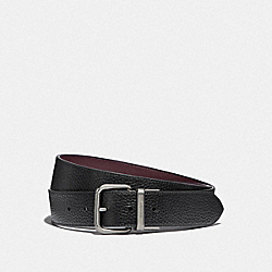 DAPPED COACH ROLLER CUT-TO-SIZE REVERSIBLE BELT - BLACK/OXBLOOD/BLACK ANTIQUE NICKEL - COACH F38727
