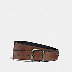DAPPED COACH ROLLER CUT-TO-SIZE REVERSIBLE BELT - SADDLE/BLACK/BLACK ANTIQUE NICKEL - COACH F38727