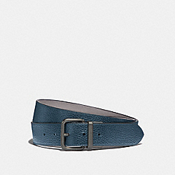 DAPPED COACH ROLLER CUT-TO-SIZE REVERSIBLE BELT - MINERAL/HEATHER GREY/BLACK ANTIQUE NICKEL - COACH F38727