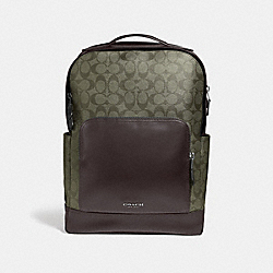 GRAHAM BACKPACK IN SIGNATURE CANVAS - SURPLUS/BLACK ANTIQUE NICKEL - COACH F38755