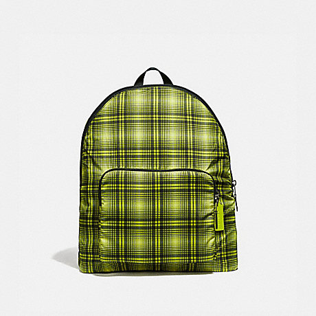 COACH PACKABLE BACKPACK WITH SOFT PLAID PRINT - NEON YELLOW MULTI/BLACK ANTIQUE NICKEL - F38766