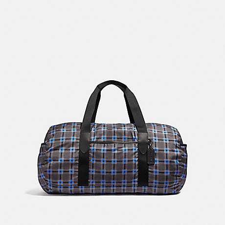 COACH PACKABLE DUFFLE WITH PLUS PLAID PRINT - GREY MULTI/BLACK ANTIQUE NICKEL - F38767