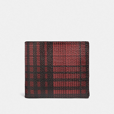 COACH 3-IN-1 WALLET WITH TWILL PLAID PRINT - RED MULTI/BLACK ANTIQUE NICKEL - F38825