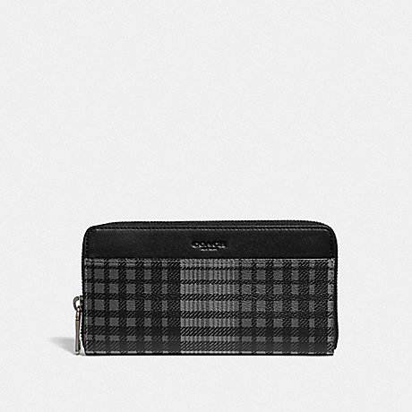 COACH ACCORDION WALLET WITH TWILL PLAID PRINT - GREY MULTI/BLACK ANTIQUE NICKEL - F38826