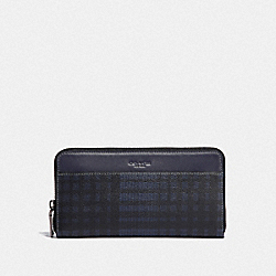 ACCORDION WALLET WITH TWILL PLAID PRINT - MIDNIGHT NAVY MULTI/BLACK ANTIQUE NICKEL - COACH F38826