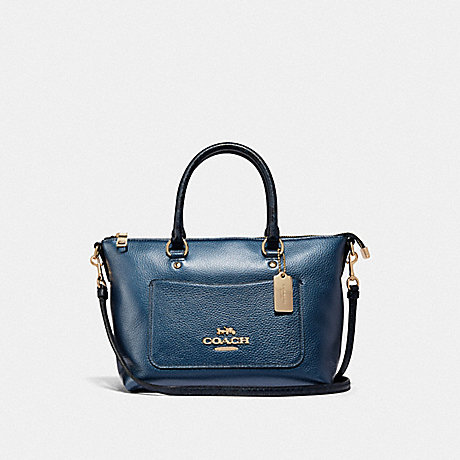 COACH MINI EMMA SATCHEL - METALLIC DENIM/LIGHT GOLD - F38877