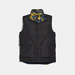 MIXED CAMO REVERSIBLE DOWN VEST - BLACK/GREY FLAX CAMO - COACH F38886