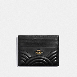 CARD CASE WITH DECO QUILTING - B4/BLACK - COACH F38928