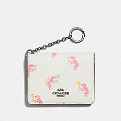 KEY RING CARD CASE WITH PARTY PIG PRINT - SV/CHALK - COACH F38946