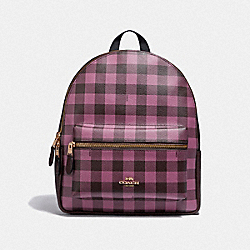 MEDIUM CHARLIE BACKPACK WITH GINGHAM PRINT - PRIMROSE/MULTI/LIGHT GOLD - COACH F38949