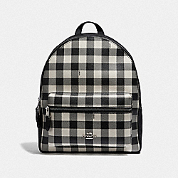 MEDIUM CHARLIE BACKPACK WITH GINGHAM PRINT - BLACK/MULTI/SILVER - COACH F38949