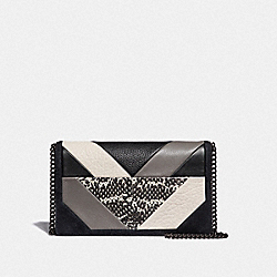 CALLIE FOLDOVER CHAIN CLUTCH WITH PATCHWORK AND SNAKESKIN DETAIL - V5/BLACK MULTI - COACH F38975