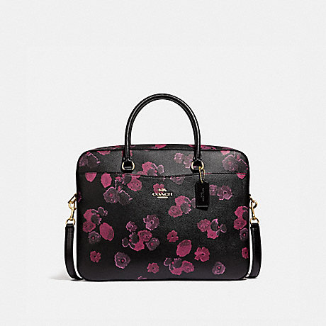 COACH LAPTOP BAG WITH HALFTONE FLORAL PRINT - BLACK/WINE/LIGHT GOLD - F38985