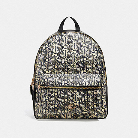 COACH MEDIUM CHARLIE BACKPACK WITH CHAIN PRINT - BLACK/LIGHT GOLD - F39001