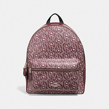 COACH MEDIUM CHARLIE BACKPACK WITH CHAIN PRINT - CLARET/LIGHT GOLD - F39001