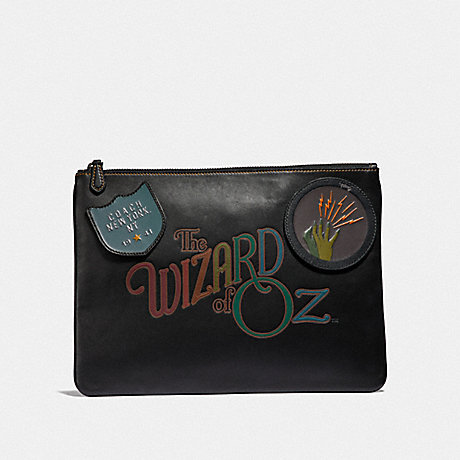 COACH LARGE POUCH WITH WIZARD OF OZ PATCHES - BLACK MULTI/BLACK ANTIQUE NICKEL - F39014