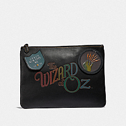 LARGE POUCH WITH WIZARD OF OZ PATCHES - BLACK MULTI/BLACK ANTIQUE NICKEL - COACH F39014