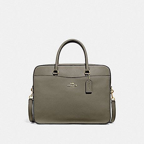 COACH LAPTOP BAG - MILITARY GREEN/GOLD - F39022