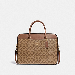 LAPTOP BAG IN SIGNATURE CANVAS - KHAKI/SADDLE 2/IMITATION GOLD - COACH F39023
