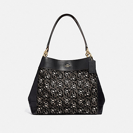 COACH LEXY SHOULDER BAG WITH CHAIN PRINT - BLACK/LIGHT GOLD - F39024