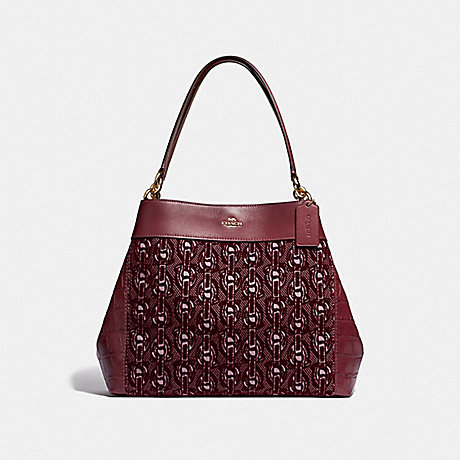 COACH LEXY SHOULDER BAG WITH CHAIN PRINT - CLARET/LIGHT GOLD - F39024